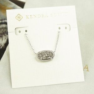 Kendra Scott Elisa Necklace Platinum Drusy Silver